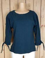 LOFT Ann Taylor Womens Size Small 3/4 Tie Sleeve Shirt Cotton Blue Sweater Top