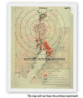 HISTORIC HARDBACK MAP NAGASAKI JAPAN FOLLOWING AMERICAN ATOMIC BOMB ATTACK 1945