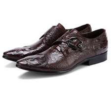 British Mens Real Leather Shoes Business Oxfords Buckle Crocodile Pattern Casual