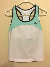 """Adidas"" Womens White/Aqua/Black Racerback Tank Top Shelf Bra Nylon/Spandex Sz L"