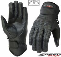 MENS PERFORATED TOUCHSCREEN FINGER VENTED MOTORBIKE / MOTORCYCLE LEATHER GLOVES
