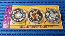 3X 2002 Vietnam 10,000 Dong Lunar Year of the Horse Silver Proof Coin Set