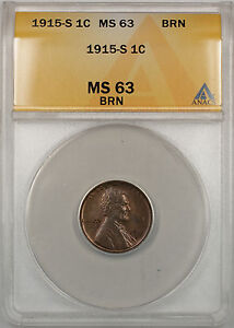 1915-S Lincoln Wheat Penny 1C Coin ANACS MS-63 BRN (Better Coin RM)
