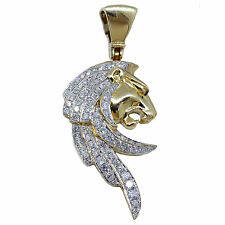 1.22ct Diamante Cabeza de León Colgante 14k ORO AMARILLO
