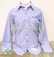 Mens Military US Navy USN Long Sleeve Chambray Work Utility Shirt BLUE Medium