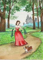 ACEO RYTA ART PEMBROKE WELSH CORGI PRINCESS CASTLE FAIRY STORY PRINT OF PAINTING
