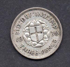 1939 Great Britain silver threepence coin Rare