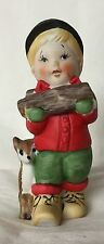 Vintage Jasco Taiwan Boy With Deer Wood Collector Ceramic Pomander Figurine