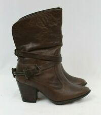 Andrea Dark Brown Leather Harness Cowboy Boots Womens Size 5.5 Style 9468 EUC