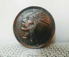 Native American Indian Chief 1898 Copper Souvenir Paperweight Medallion
