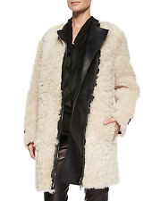 NEW $4895 Burberry London -  Women's Shearling Leather Trim White Coat  Sz 10 US
