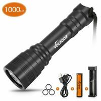 Diving Flashlight 1000lm Waterproof Diving Torch Rechargeable Scuba Dive Light