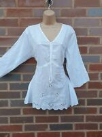 Cotton White Summer Blouse Top Embroidered 3/4 Sleeve