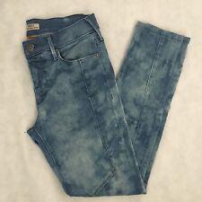 True Religion Women's 26 Halle Moto Midrise Super Skinny Jeans Bleach Tie Dye