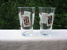 """Set of 2 Poker Playing Cards 16 oz. Glasses 5 1/2"""" Tall"""