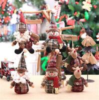 Stuffed Snowman Ornament  Santa Claus Doll  Xmas Tree Decor Christmas Hanging