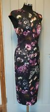 Ted Baker black floral multicolour wiggle dress 2 UK 10 stretch zip back Raisie