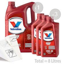 Car Engine Oil Service Kit / Pack 8 LITRES Valvoline MaxLife 10w-40 8L