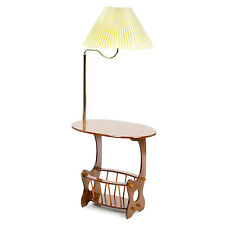 End Table With Lamp Oak Magazine Sorage Rack Brass Swing Arm Elegant Wood Stand