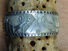 Handmade Navajo Storyteller Sterling Silver Overlaid Cuff Bracelet Marked Signed