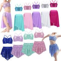 Girls Modern Ballet Latin Dance Dress Lyrical Crop Top+Skirt Sequins Dancewear