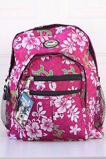 Hawaiian Lauhala Turtle Print School Travel Beach Hiking Backpack PINK H-02P