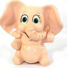 Vintage MCM Pink Porcelain Elephant Piggy Bank Raised Rubber Stopper Trunk Up