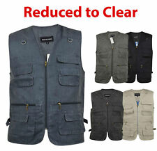 Men Gilet Safari Waistcoat Multiple Pocket Support Jacket Fishing Hunting Hiking