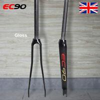 """EC90 1-1/8"""" Road Bike Gloss Rigid Fork 700C Full Carbon Ultralight Straight Tube"""