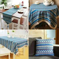 Vintage Boho Tassel Lace Tablecloth Table Runner Cover Dining Party Home Decor