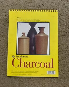 """Strathmore 300 Series Charcoal Pad / White / 9x12"""" Glue Bound / 32 Sheets"""