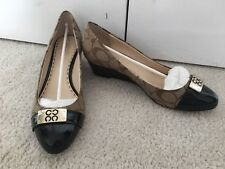 Coach Wedge Shoes Size 8.5 Khaki/chestnut