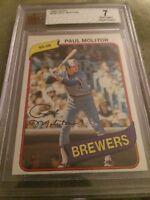 1980 Topps Paul Molitor Baseball Card #406 Brewers BVG 7 NM