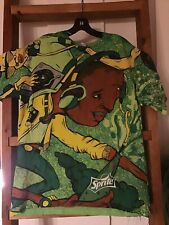 Vintage Rare Sprite All Over Print Tshirt Sz L Hip Hop Graffiti Art Euc