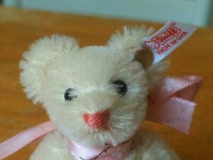 2001 miniature white mohair Steiff Club Teddy Bear Germany 3.5in EUC