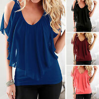 Chiffon Women's Summer Loose Top Short Sleeve Blouse Ladies Casual Tops T-Shirt