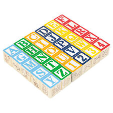 30PC WOODEN LETTERS AND NUMBERS BUILDING BLOCKS SPELLING NAMES TOY NEW