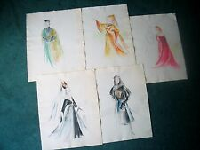 LP17 (K7) Excellent Vintage Watercolor Costume Design Study LOT of Five