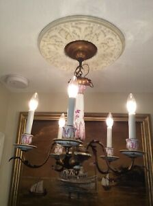 Rare Antique French Sevres Porcelain with Bronze 5 Lights Chandelier. Marked.