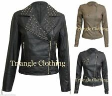 Zip Polyester Coats & Jackets Studded for Women
