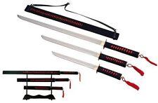 Red Ninja Samurai Sword Set with Display Stand - Katana Wakazashi Tanto - NIB