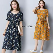 New Retro Women Cotton Linen Casual Loose A Line Floral Summer Tunic Maxi Dress