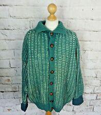 "Vintage chunky green teal hand knit pure wool coatigan cardigan 20 XL bust 50"""
