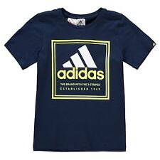 2X adidas Roots Junior T Shirt Boys Short Sleeve Crew Neck Top NAVY + RED AGE 13