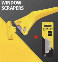 STANLEY WINDOW GLASS SCRAPER WITH  5 BLADES PAINT STICKER POSTER RESIDUE REMOVER