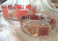 Vintage Chip & Dip Glass Bowl Set of 2  Dip Recipes Orange Gold Trim Modern 60's