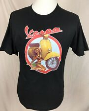 Vespa Scooters Hula Girl Graphic Black S/S T-Shirt Men's Size Large NWOT