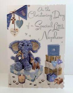 Jonny Javelin Christening Day Special Little Nephew Card Teddy Elephant/V542
