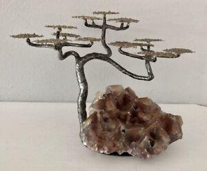 Vintage Richard Bell Smith Bonsai brass tree sculpture Amethyst & steel base