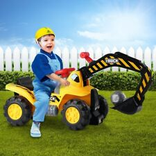 Kids Excavator Ride on Digger Bulldozer Loader Car w/Toy Stones & Safety Helmet
